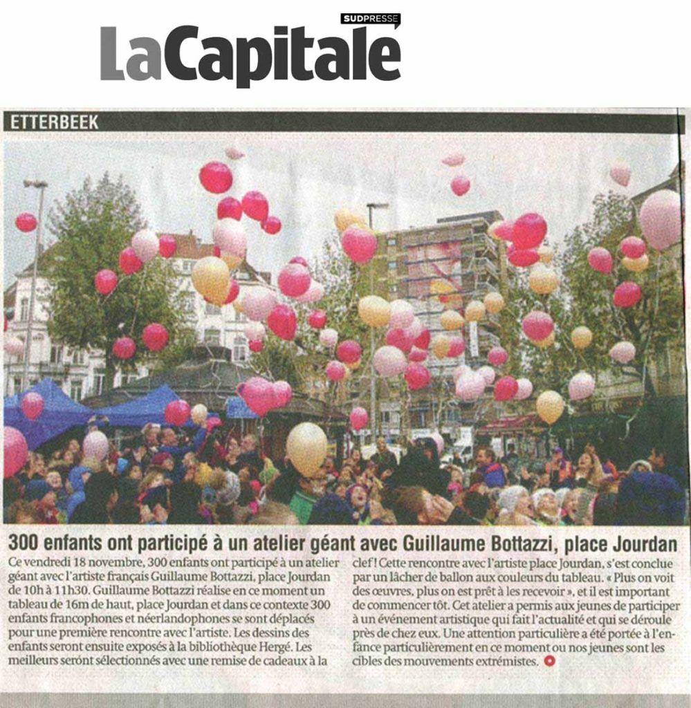 Guillaume Bottazzi rencontre des enfants, article sur le journal belge La Capitale