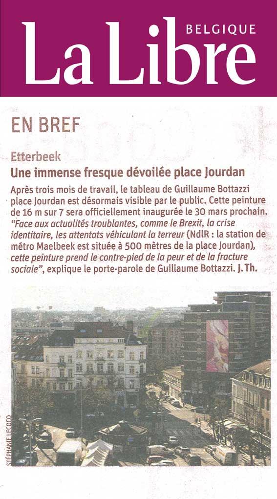 Art public : article au sujet de Guillaume Bottazzi sur le journal national La Libre Belgique