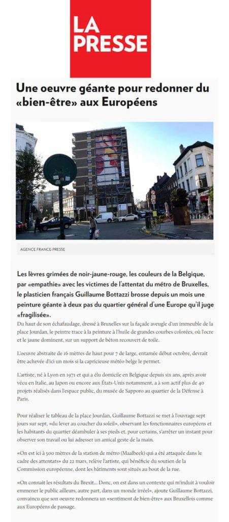 Article au sujet de l'artiste Guillaume Bottazzi sur le journal Canadien La Presse