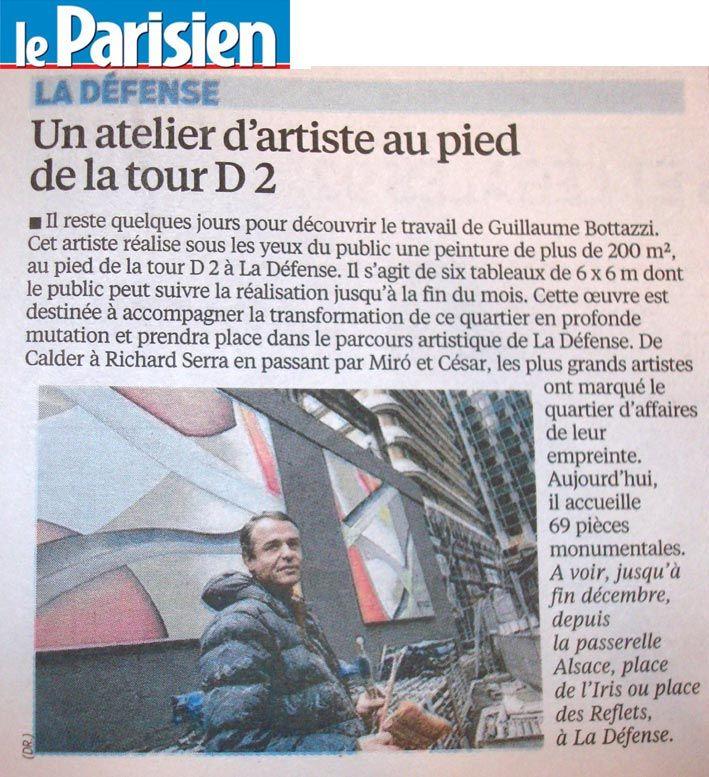 Art public à Paris, article au sujet de l'oeuvre monumentale de Guillaume Bottazzi sur Le Parisien en 2014