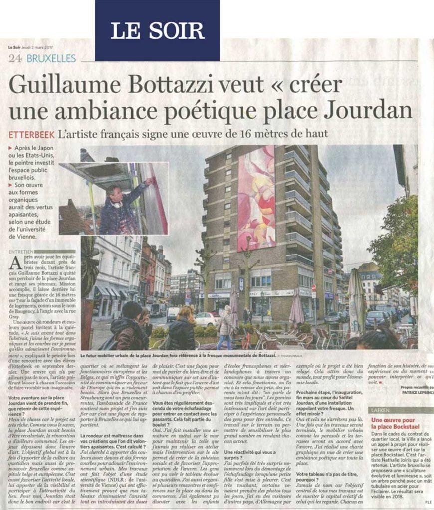 Art public à Bruxelles, article au sujet de Guillaume Bottazzi sur le journal Le Soir