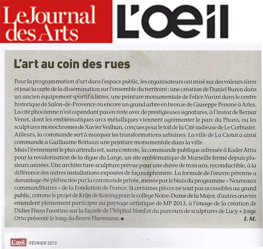 Le magazine l'Oeil au sujet de Marseille Provence 2013 et de l'oeuvre monumentale de Guillaume Bottazzi