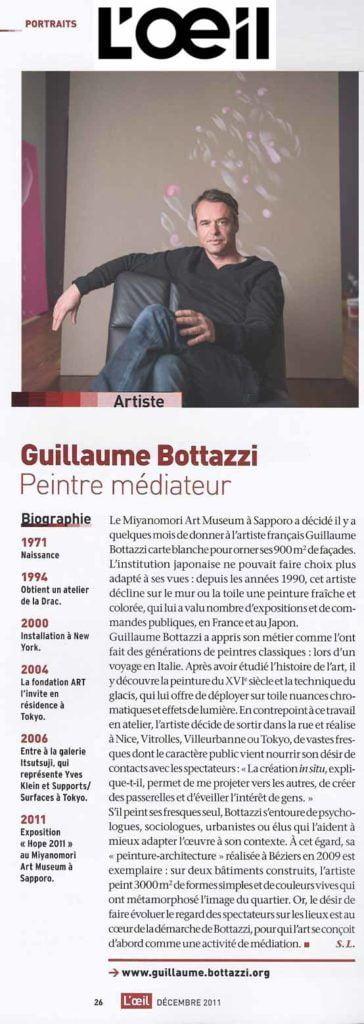 Article au sujet de Guillaume Bottazzi sur le magazine d'art L'Oeil