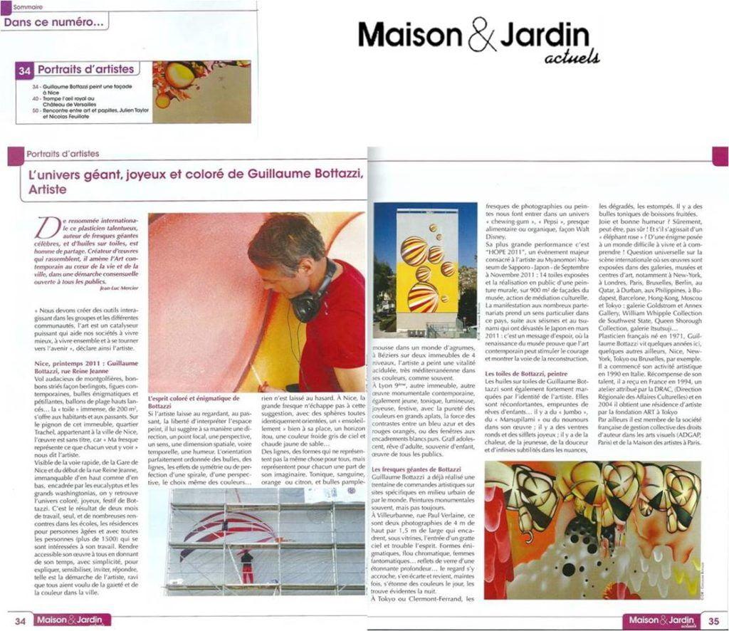 Article au sujet de l'artiste Guillaume Bottazzi sur le magazine Maison et Jardin actuels en 2011