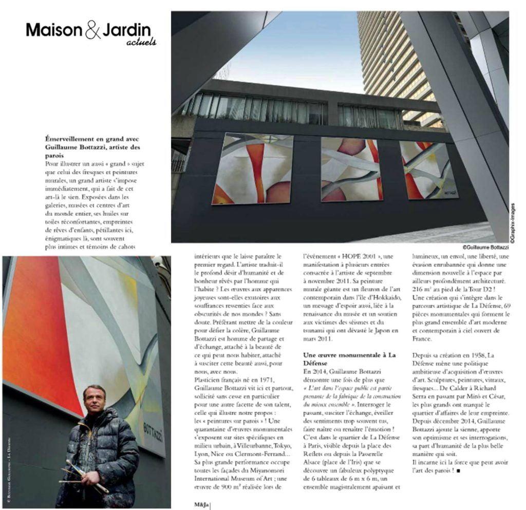 Art public Paris : Article au sujet de l'artiste Guillaume Bottazzi sur le magazine Maison et Jardin actuels