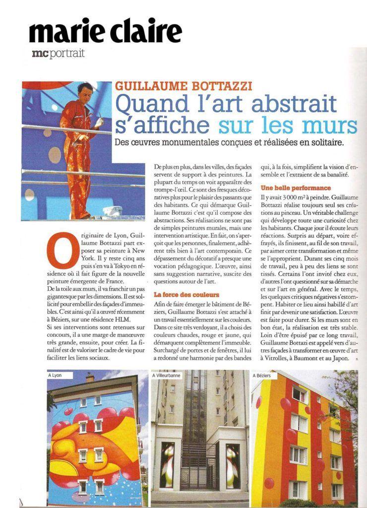 Art public, portrait de l'artiste Guillaume Bottazzi sur le journal Marie Claire en 2009