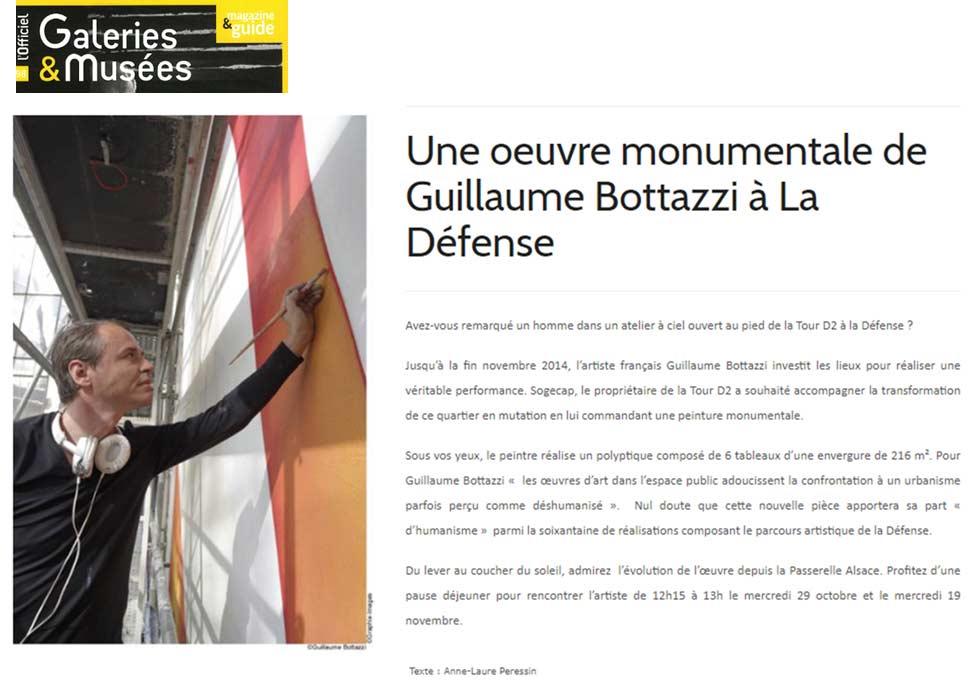 Art public à Paris, article au sujet de Guillaume Bottazzi sur l'Officiel des Galeries et Musées