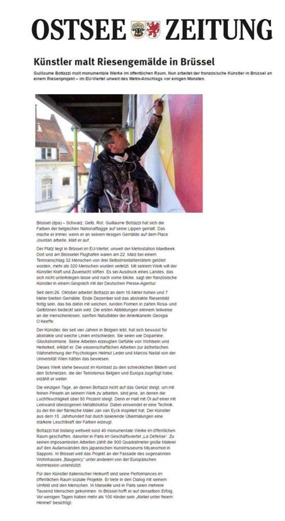 Guillaume Bottazzi on the German newspaper Ostsee Zeitung