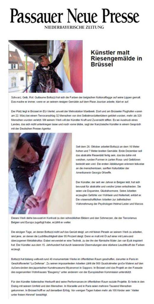 Public art: article on Passauer Neue Presse about Guillaume Bottazzi