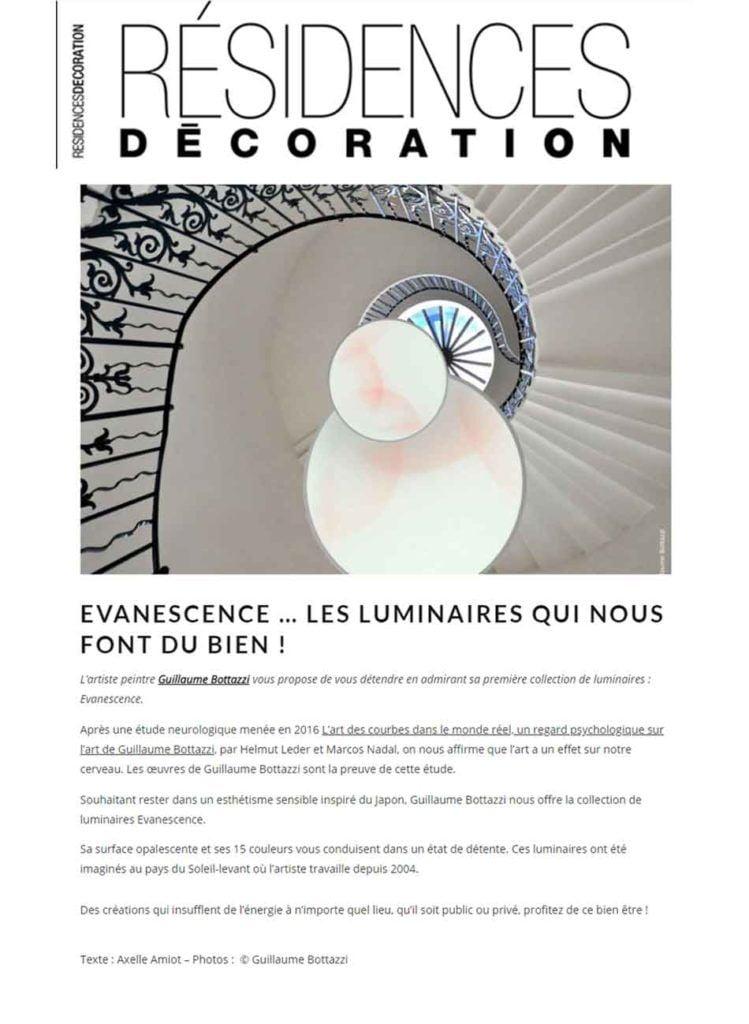 Article au sujet de l'artiste Guillaume Bottazzi sur le magazine Résidences Décoration