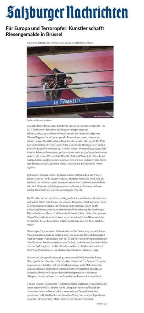 Salzburger Nachrichten about the artist Guillaume Bottazzi
