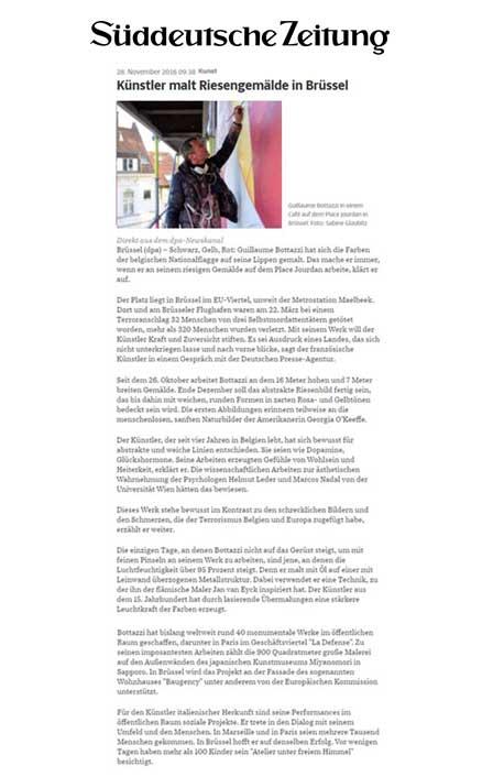 Süddeutsche Zeitung, article about the artist Guillaume Bottazzi
