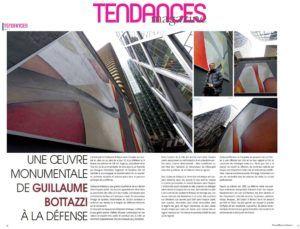Art public à Paris, article au sujet de l'artiste Guillaume Bottazzi sur le magazine Tendances en 2014