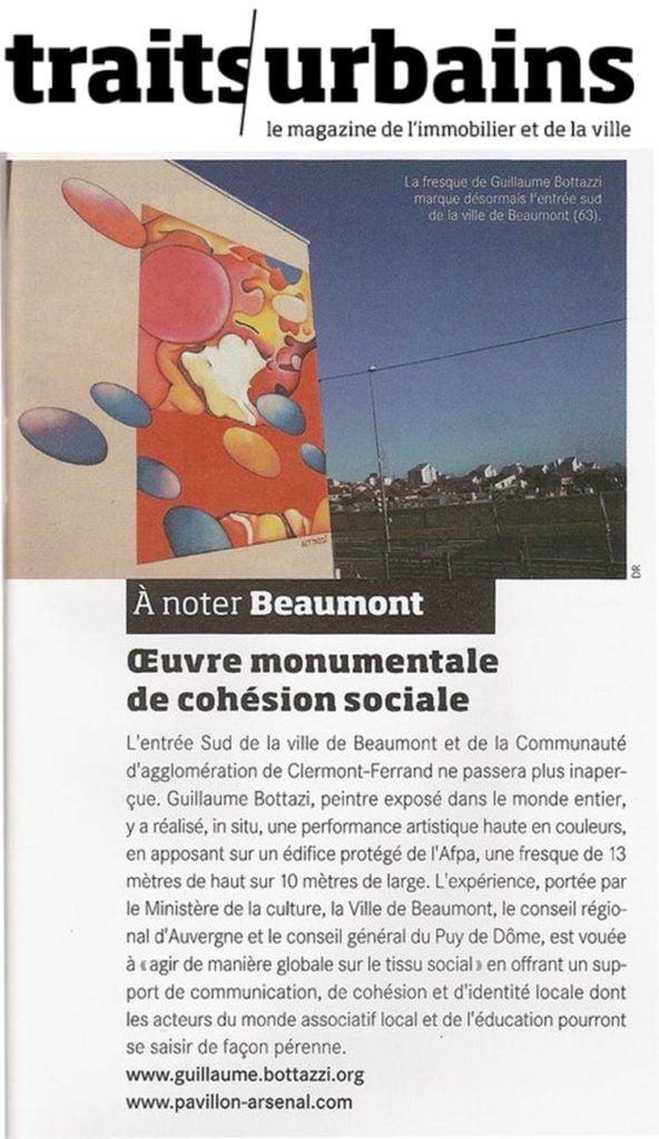 Article au sujet de Guillaume Bottazzi sur le magazine Traits Urbains, publié par le Pavillon de l'Arsenal