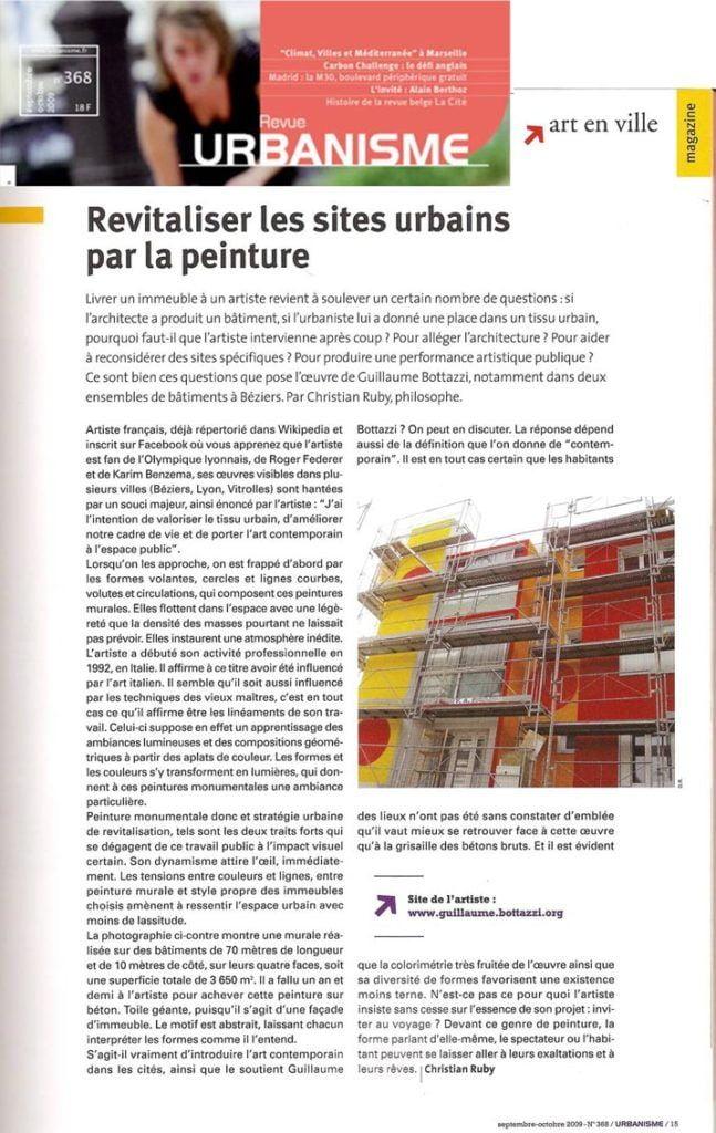 Art public : article sur la revue Urbanisme au sujet de Guillaume Bottazzi