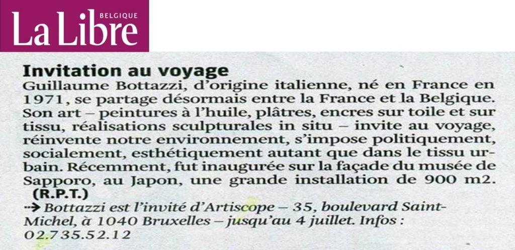La Libre Belgique, article au sujet de l'artiste Guillaume Bottazzi