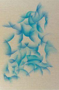 Oeuvre abstraite de l'artiste Guillaume Bottazzi, huile sur toile de lin brut, 148 x 97 cm, 2018