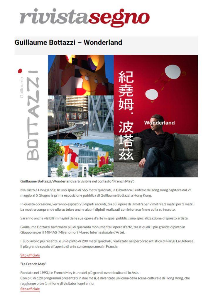 Article about the artist Guillaume Bottazzi on the Italian art magazine, Rivista Segno