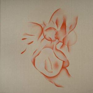 Tableau de l'artiste Guillaume Bottazzi. Huile sur toile de lin brut, 200 x 200 cm, 2012.