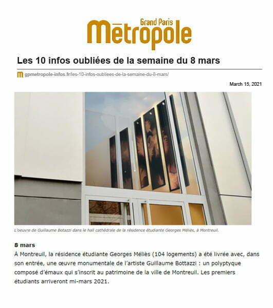 Article au sujet du polyptyque de Guillaume Bottazzi par Grand Paris Métropole, mars 2021