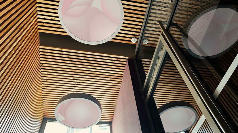 Backlit artworks designed by the artist Guillaume Bottazzi in Lyon, France