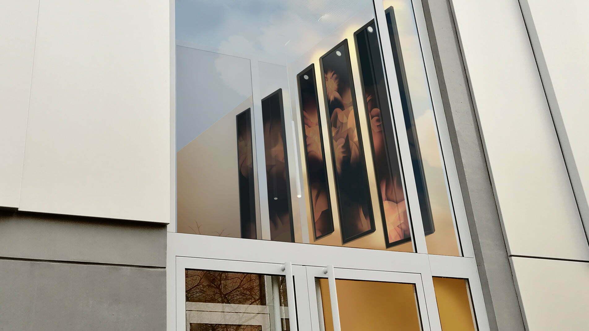 Polyptyque composé d'émaux, réalisé par l'artiste Guillaume Bottazzi pour la résidence Georges Méliès à Montreuil, vu de l'extérieur