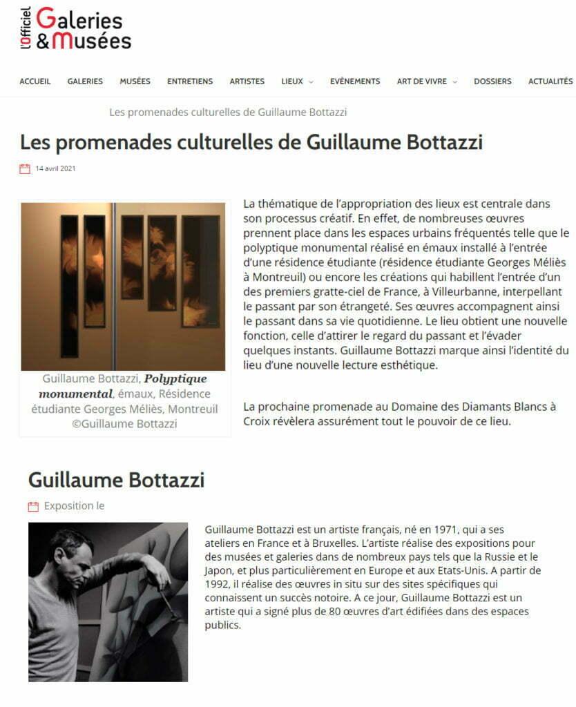 Article au sujet de Guillaume Bottazzi et de sa promenade culturelle sur l'Officiel des Galeries et Musées