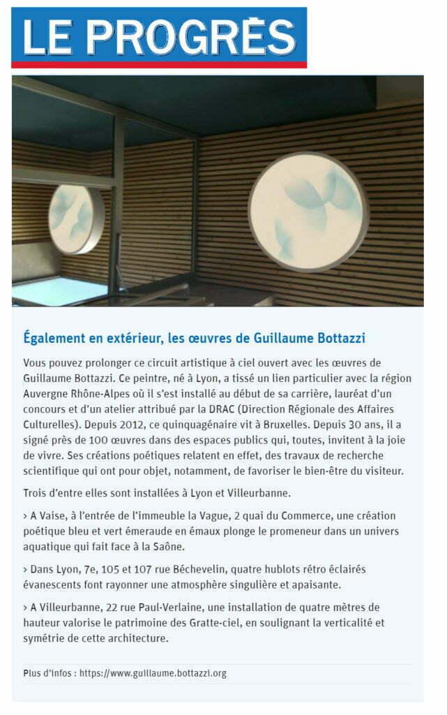 Article sur Le Progrès au sujet de la promenade culturelle en France proposée par Guillaume Bottazzi à l'occasion du confinement en avril 2021