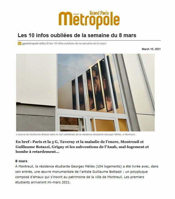 Grand Paris Métropole, article au sujet de l'artiste Guillaume Bottazzi