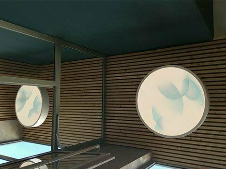 Oeuvres rétroéclairées réalisées in situ par l'artiste Guillaume Bottazzi à Lyon