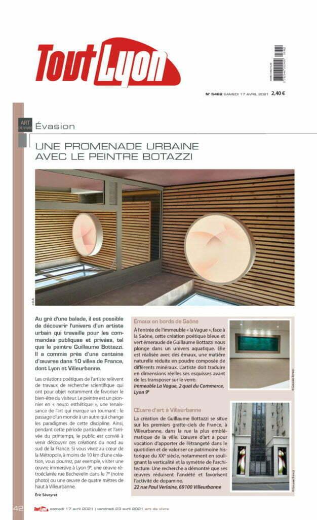 Article sur le magazine Tout Lyon au sujet de Guillaume Bottazzi et de la promenade culturelle en France proposée lors du confinement en avril 2021