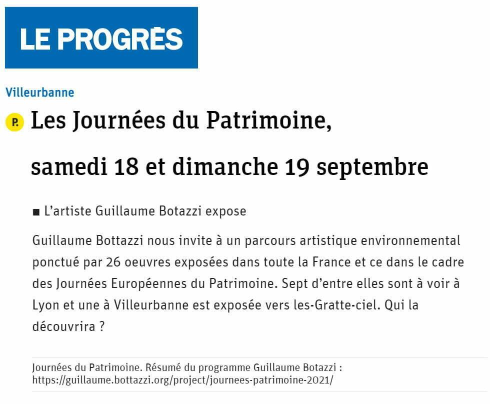 Article au sujet de Guillaume Bottazzi sur Le Progrès, septembre 2021