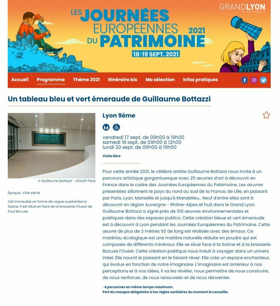 Les œuvres de l'artiste Guillaume Bottazzi au programme des Journées Européennes du Patrimoine 2021