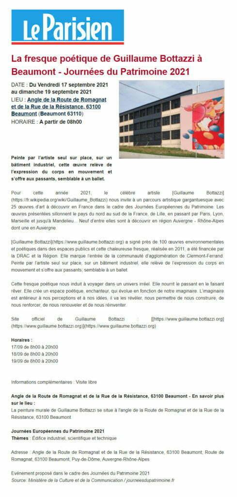 Article au sujet de Guillaume Bottazzi sur le Parisien, Beaumont 2021