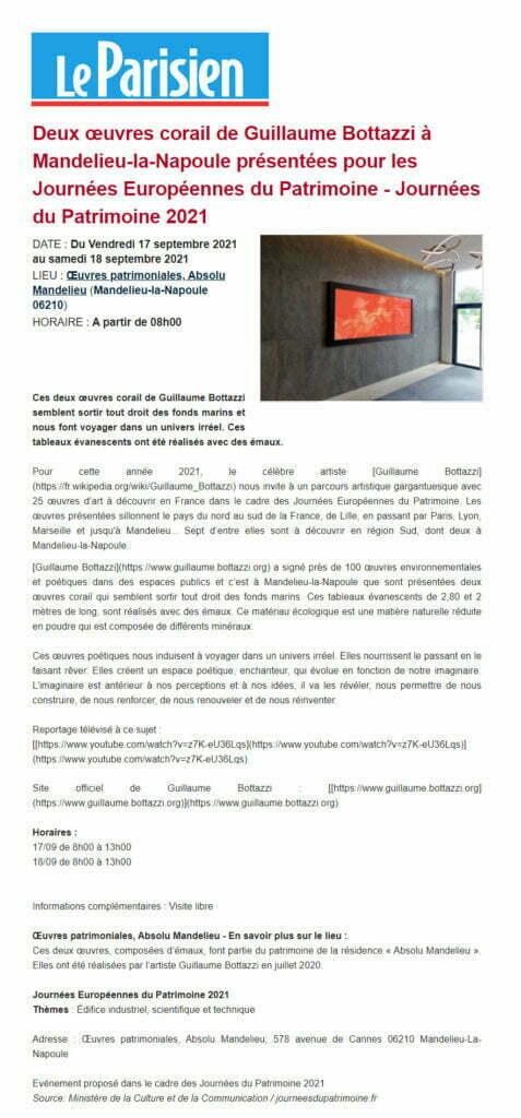 Article au sujet de Guillaume Bottazzi sur Le Parisien septembre 2021