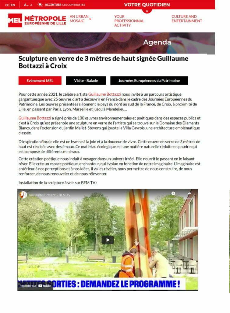 Article au sujet de Guillaume Bottazzi sur Lille Métropole, septembre 2021