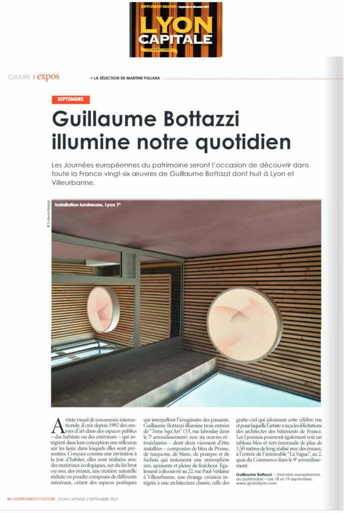 Article de Lyon Capitale au sujet des oeuvres de Guillaume Bottazzi sélectionnées dans le cadre des Journées Européennes du Patrimoine