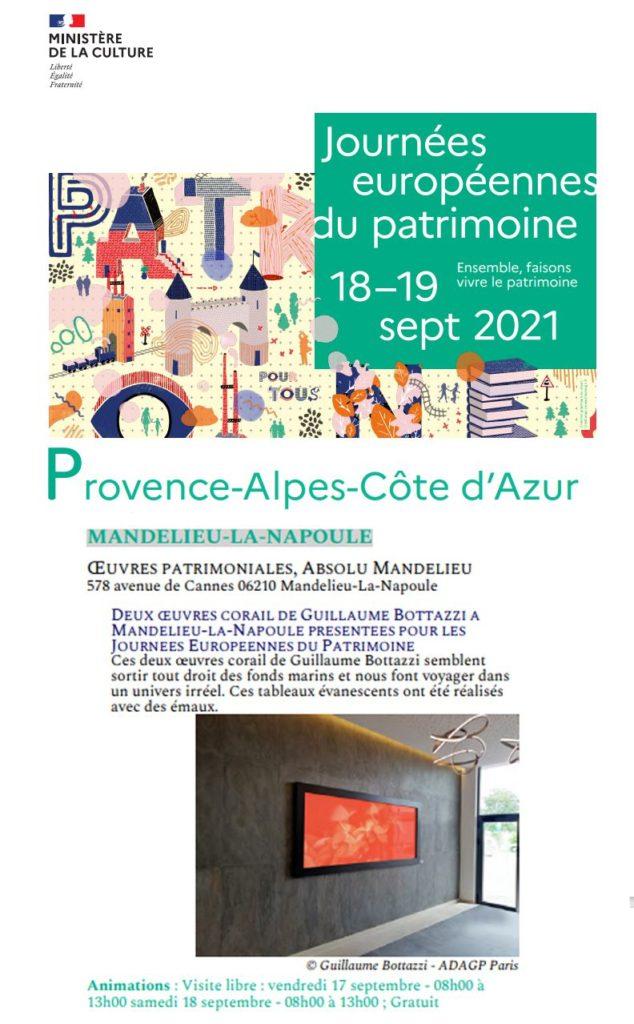 Les œuvres de l'artiste Guillaume Bottazzi au programme du ministère de la Culture pour les Journées Européennes du Patrimoine 2021
