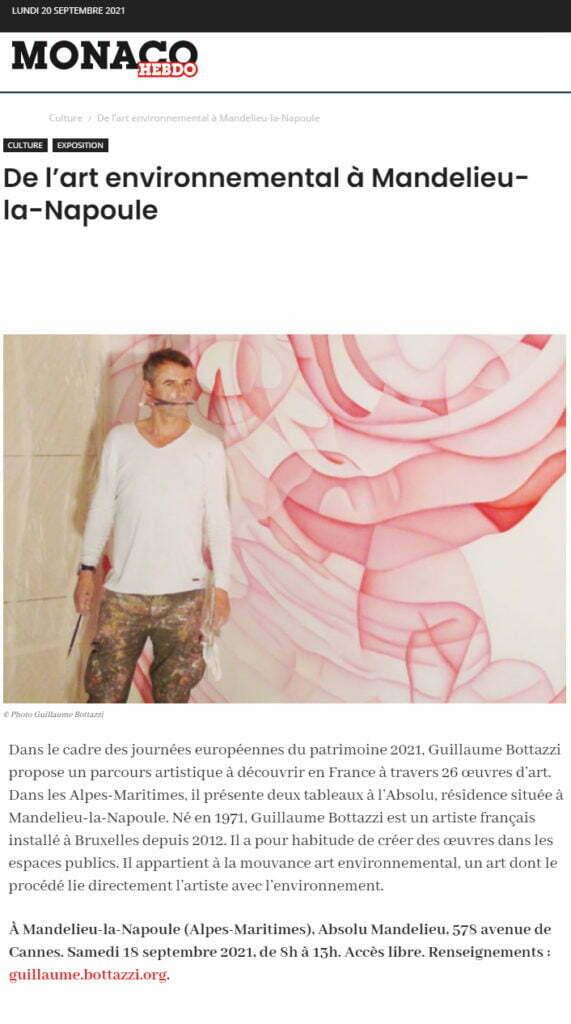 Article au sujet de Guillaume Bottazzi sur Monaco Hebdo, septembre 2021