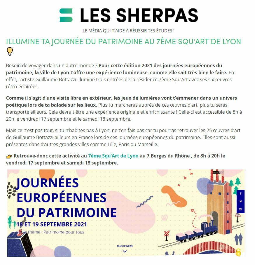 Article au sujet de Guillaume Bottazzi sur Les Sherpas