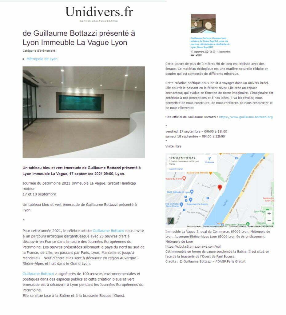 Article au sujet de Guillaume Bottazzi sur Unidivers