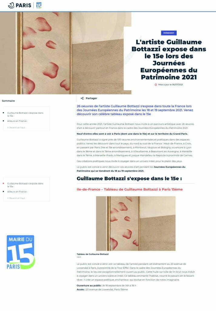 Article au sujet de Guillaume Bottazzi sur le journal de Paris 15ème