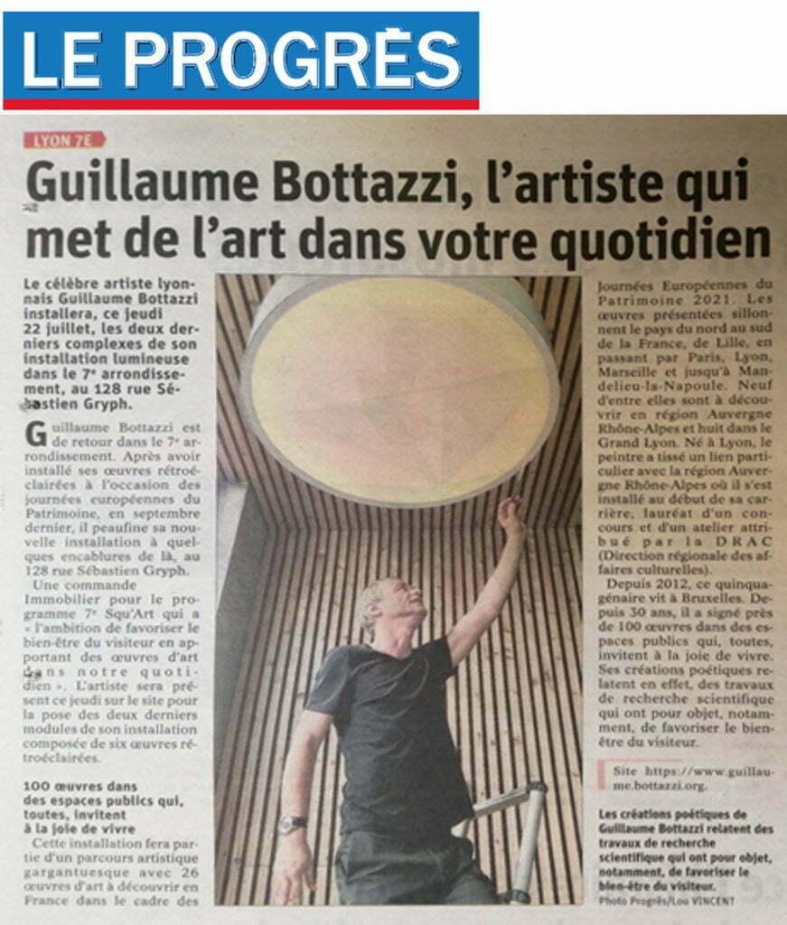 Article sur le Progrès au sujet de l'installation lumineuse de Guillaume Bottazzi à Lyon, juillet 2021