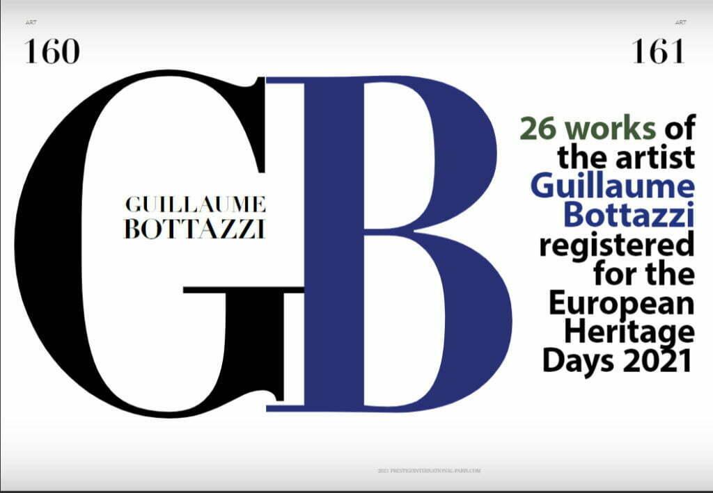 Article sur le magazine Prestige International au sujet de l'artiste Guillaume Bottazzi, été 2021